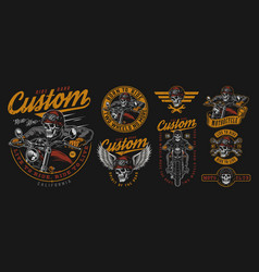 vintage colorful motorcycle emblems set vector image