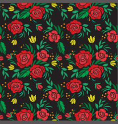 Vintage flower seamless pattern embroidery vector