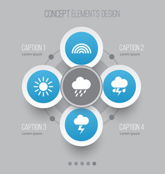 Weather icons set collection of colors lightning vector