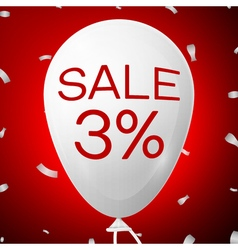 White Baloon with text Sale 3 percent Discounts vector image