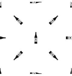 wine bottle pattern seamless black vector image