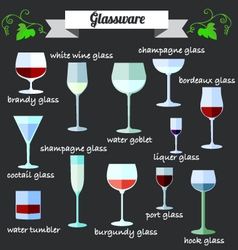 Wine Glassware flat design set vector image