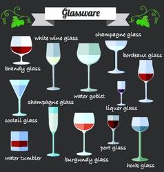 Wine Glassware flat design set vector