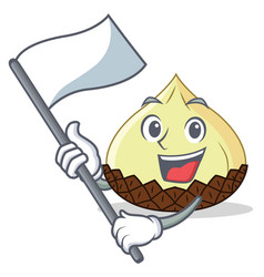 With flag snake fruit mascot cartoon vector