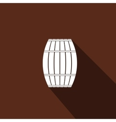 Wooden barrel icon with long shadow vector