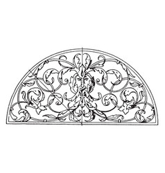 wrought-iron grill lunette panel is a leaves and vector image