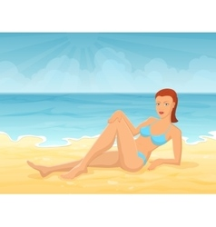 Young girl lying on beach vector image