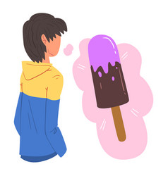 Young man dreaming about ice cream human thoughts vector