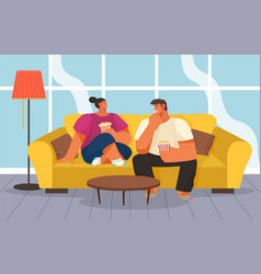 young married couple at home on couch with vector image