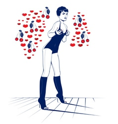 beauty sexy valentine girl in cool cartoon style vector image