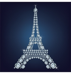 Eiffel tower - Paris made up a lot of diamonds vector image vector image