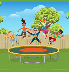 kids jumping on trampoline in garden vector image vector image