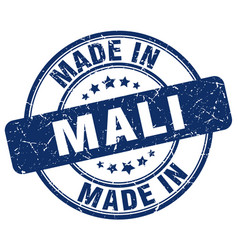 Made in mali blue grunge round stamp vector