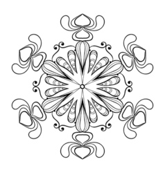 snow flake in zentangle doodle style vintage vector image vector image