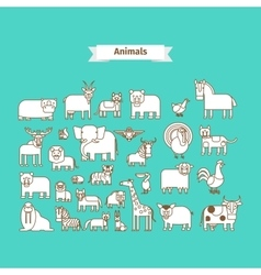 Animals Line Art Icons vector image vector image