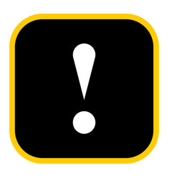 Black square exclamation mark icon warning sign vector