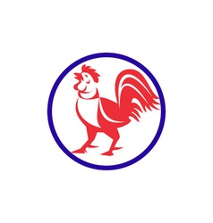 Chicken Rooster Crowing Circle Retro vector image