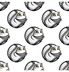 Funny cartoon baseball ball pattern vector