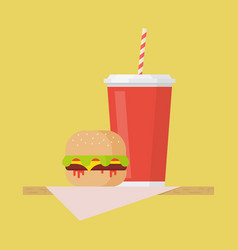 hamburger and soda vector image vector image