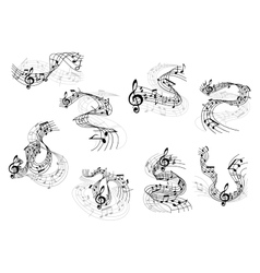 Musical notes and treble clefs on wavy staves vector image vector image