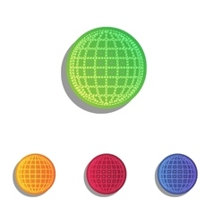 Earth Globe sign Colorfull applique icons set vector image