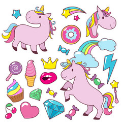 magic cute unicorns baby horses character vector image
