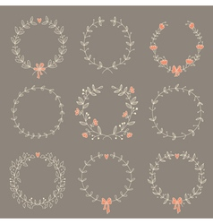 Set of 9 hand drawn wreaths vector