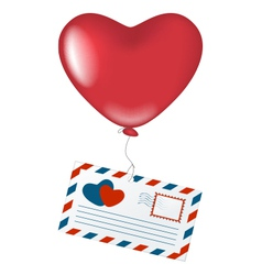 Love letter with heart balloon vector image vector image