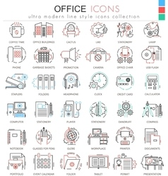 Office color flat line outline icons for vector image