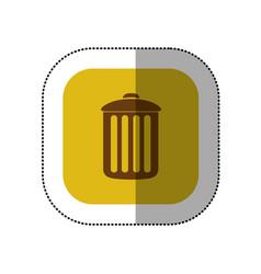 yellow symbol trash can icon vector image
