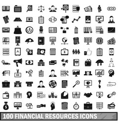 100 financial resources icons set simple style vector