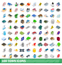 100 town icons set isometric 3d style vector image