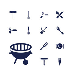 13 fork icons vector