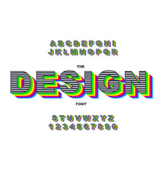 80 s retro alphabet font rainbow vintage alphabet vector