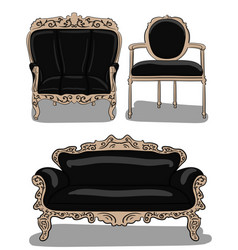 a set of furniture a large chair a chair and a vector image