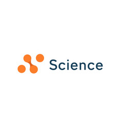 abstract science icon orange circles dotted logo vector image
