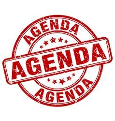 Agenda red grunge round vintage rubber stamp vector