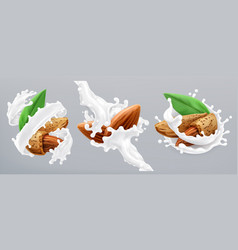 almond and milk splash 3d realistic icon vector image