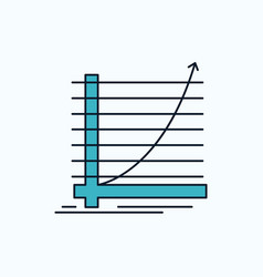 arrow chart curve experience goal flat icon green vector image