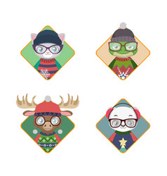 avatars of hipster animals in ugly christmas vector image