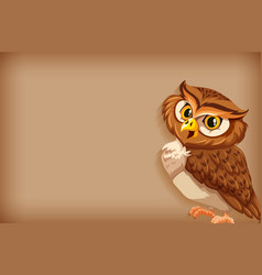 Background template with plain color and brown owl vector