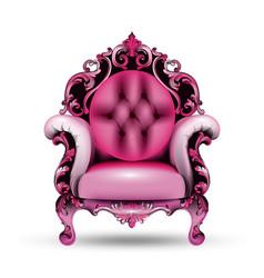 Baroque pink armchair 3d vector