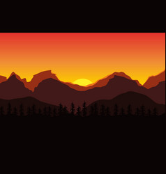 beautiful landscape of sunset in the mountains vector image