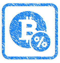 bitcoin percent framed stamp vector image