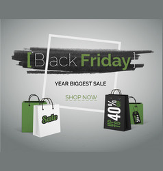 black friday sale green banner vector image