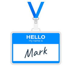 blue hello my name is label sticker on white vector image