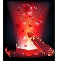 Box of chocolates and fireworks vector image