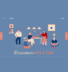 brainstorm team work website landing page vector image