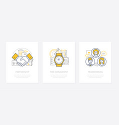 Business management - line design style icons set vector