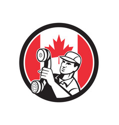 Canadian telephone installation repair technician vector